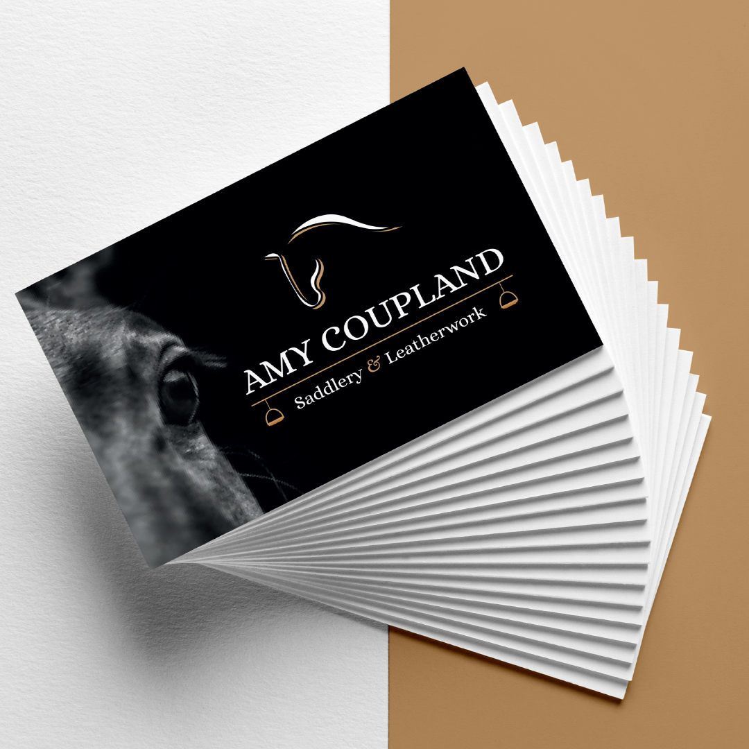 A1 Graphics Ltd vehicle wraps and signage - Services / What - Graphic Design - I Business cards & stationery - Amy Coupland Saddlery and Leatherwork