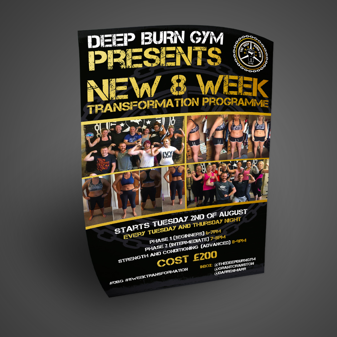 A1 Graphics Ltd vehicle wraps and signage - Services / What - Graphic Design - I Flyers, brochures & posters / banners - The Deep Burn Gym