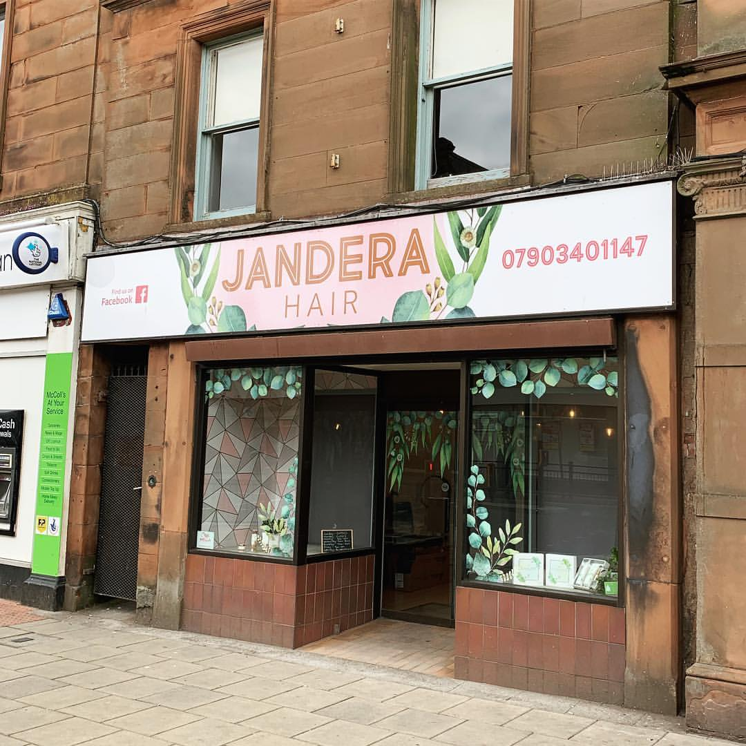 Sign Writing | A1 Graphics Ltd vehicle wraps and signage - Services / What - Building Signage - Jandera Hair