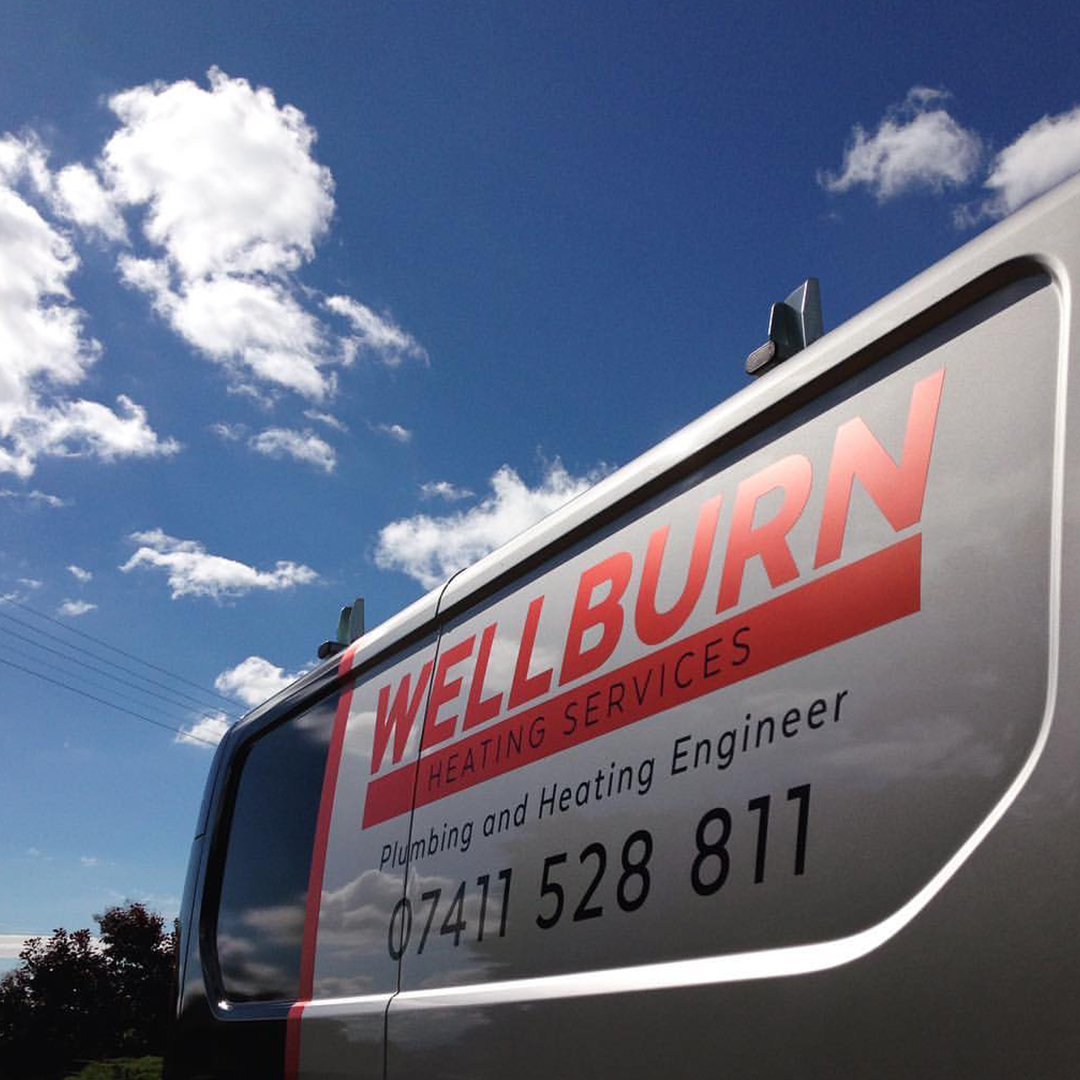 A1 Graphics Ltd vehicle wraps and signage - Services / What - Signage - Partial wrap - Wellburn Heating Services