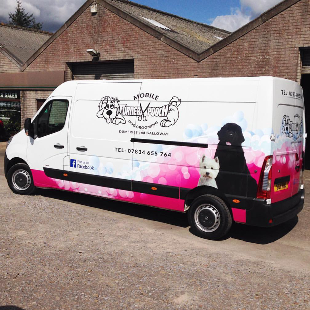 A1 Graphics Ltd vehicle wraps and signage - Services / What - Signage - Partial Vehicle Wrap - Mobile Turner Pooch